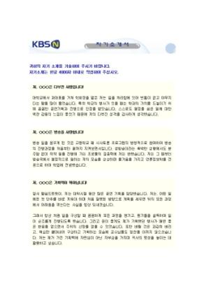 방송, 미디어전략 자기소개서(KBSN)_신입 상세 미리보기 1페이지