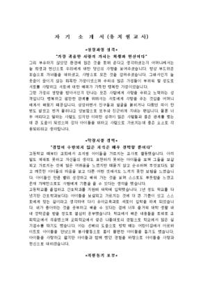 유치원교사 자기소개서 상세 미리보기 1페이지