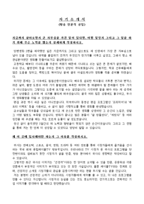 방송 언론직 신입 자기소개서 상세 미리보기 1페이지