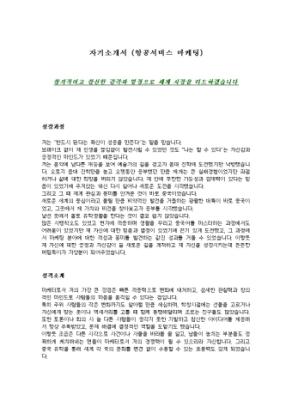 아시아나항공 마케팅 자기소개서 상세 미리보기 1페이지