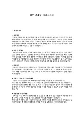 KT 마케팅 자기소개서 상세 미리보기 1페이지