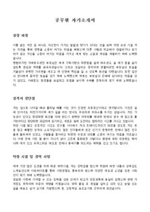 공무원 자기소개서 상세 미리보기 1페이지