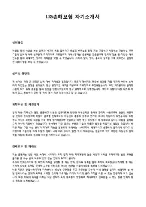 LIG손해보험 자기소개서 상세 미리보기 1페이지