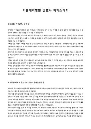 서울대학병원 간호사 자기소개서 상세 미리보기 1페이지