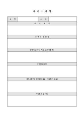 자기소개서(내용서술) 상세 미리보기 1페이지