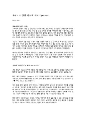 반도체생산 자기소개서(하이닉스)_신입 상세 미리보기 1페이지